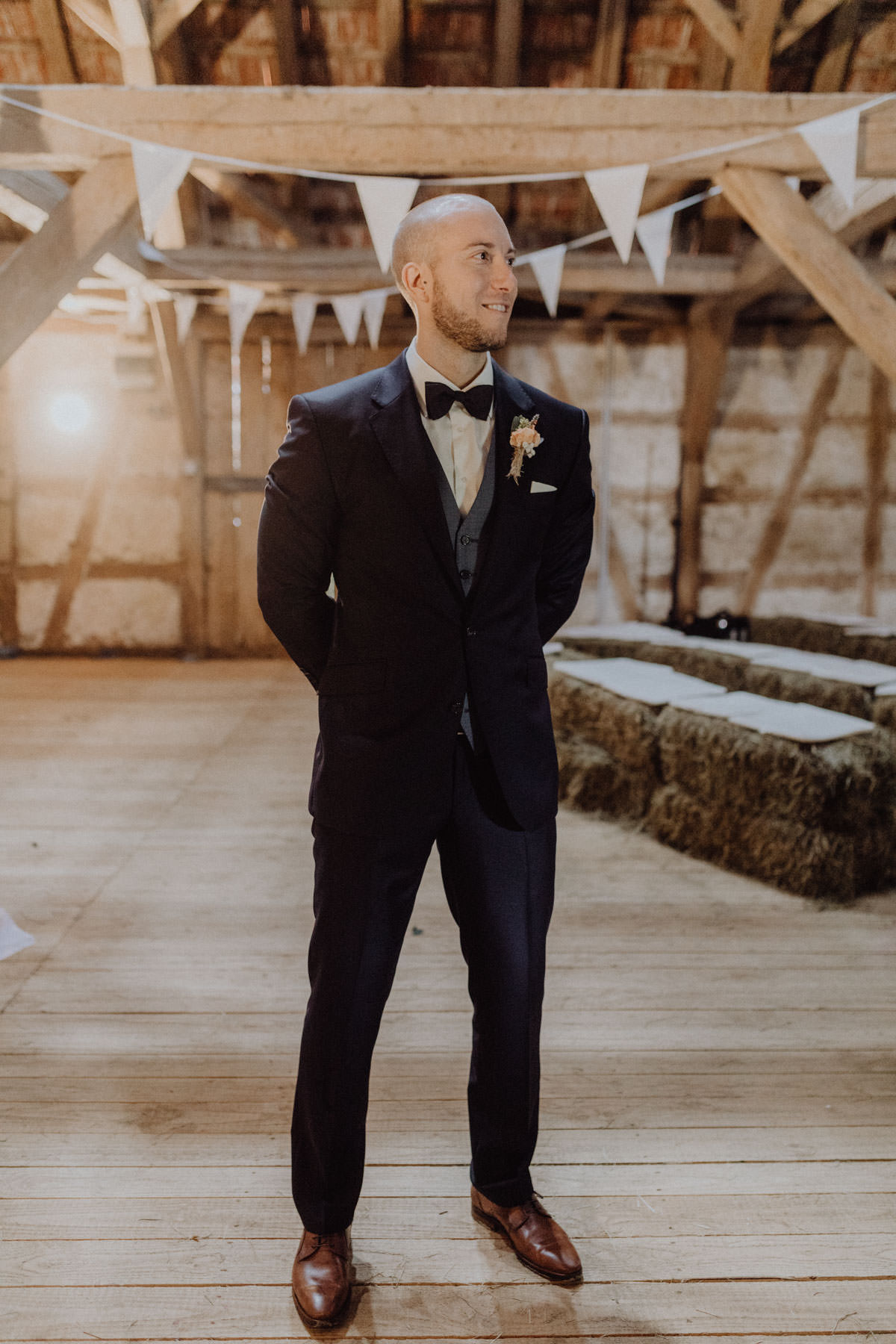 Vintage barns wedding bridal shoot groom suit barn