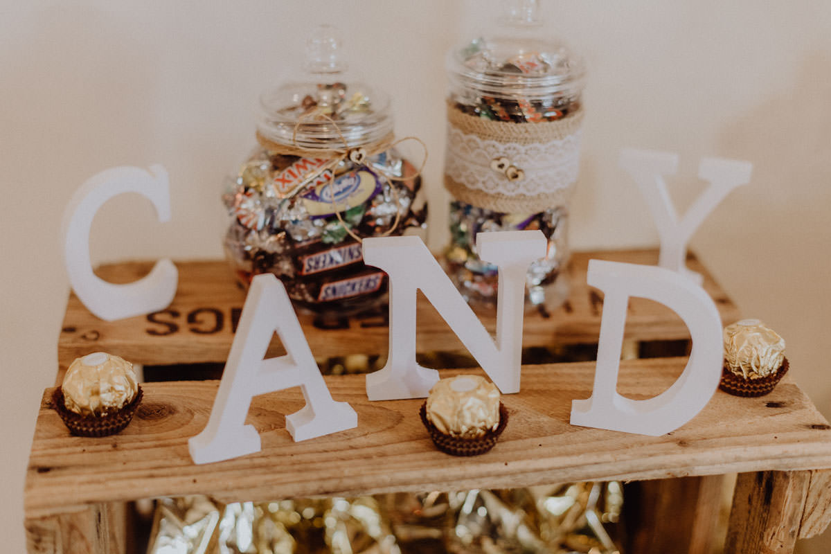 Vintage barn wedding Candy Bar